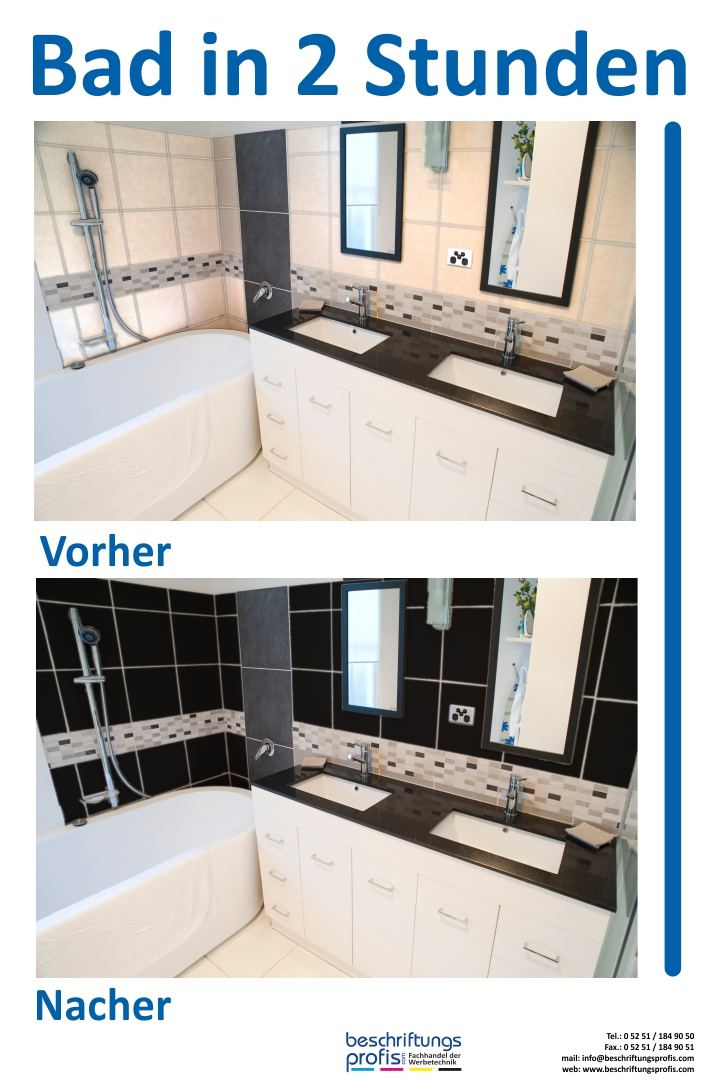 High Quality Neues Badezimmer In 2 Stunden 3,05 Qm Pvc Dekorfolie Fliesenfolie,  Badezimmer