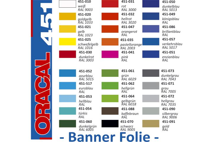 oracal 451 banner folie bannerfolie planenfolie kunststoff flexibel weich. Black Bedroom Furniture Sets. Home Design Ideas